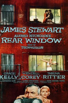 REAR WINDOW (1954) - A wheelchair bound photographer spies on his neighbours from his apartment window and becomes convinced one of them has committed murder.