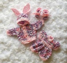Multi & Pink onesie & jacket set of clothes for 6 inch OOAK sculpt  baby doll