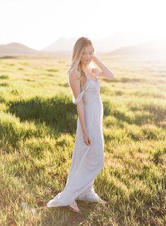 Floral Inspiration in a Grey Off the Shoulder Dress