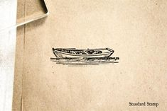 Woodcut Rowboat Rubber Stamp 2 x 1 inches   Etsy