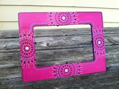 $11.50, hand painted picture frame Painted Picture Frames, Picture Frame Decor, Stick Wall Art, Diy Wall Art, Wall Painting Decor, Painting Frames, Mandala Painting, Dot Painting, Frame Crafts