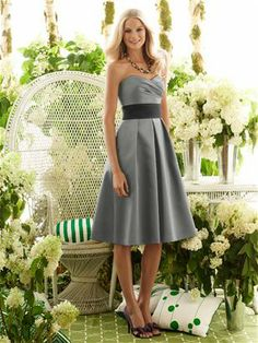 After Six Bridesmaid Style 6553 Tea-length strapless dress in matte satin has draped bodice and matching or contrasting inset midriff. The full skirt has pockets at the side seams. http://www.shareasale.com/r.cfm?u=562104=313852=33226==world%2Edessy%2Ecom%2Fp%2D1618%2Dafter%2Dsix%2Dbridesmaid%2Dstyle%2D6553%2Easpx%23