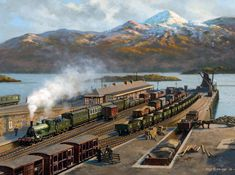 View paintings and fine art prints by renowned British landscape and railway artist - Rob Rowland GRA. Train Posters, Railway Posters, Brewery Design, Steam Railway, Train Art, Train Pictures, Old Trains, Great Western, Model Train Layouts