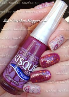 esmalte Risqué turmalina + nail art