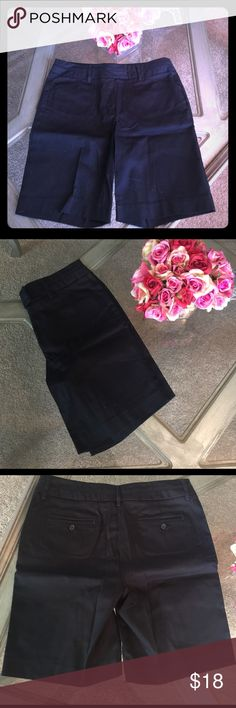 Ladies Dark Navy Bermuda Shorts NWOT 97% cotton 3% spandex Bermuda shorts. New without tags. Really really dark navy that almost appears black Larry Levine Shorts Bermudas