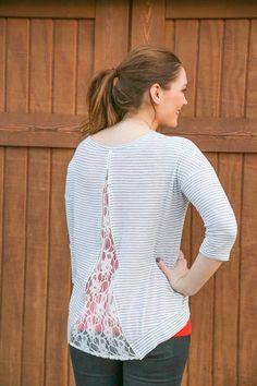 Polka Dot Bolt Lace-back Top from Kickoff Couture #bolt #polkadot #lace #laceback #zipper #oklahomacity #okc #thunder #gameday #kickoffcouture