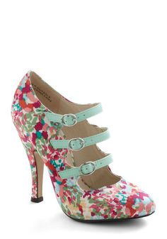 Fleur Elise Heel - Buckles, High, Leather, Multi, Floral, Daytime Party, Pastel