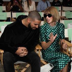 Drake Sits Front Row at Serena Williams's Fashion Show, Manages to Charm Anna Wintour