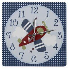 Zoom Along Airplane Nursery/Children's Clock  #nurseryroom #zazzle #walldecor #nurseryclock #babyboy