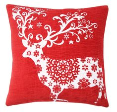 EHC Stag with Snowflakes Design Xmas Cushion Cover Sofa Bed Pillow Case, Filler Included