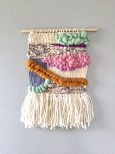 Woven Wall Hanging roving wool tapestry fiber art by JunahWoods