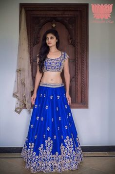 Sangeet Lehengas - Cobalt BLue Silk lehenga with Scattered Silver Border and Embroidered Blouse | WedMeGood #indianwedding #indianbride #cobaltblue #silver #lehenga