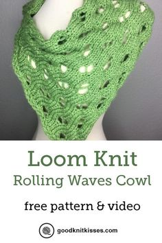 Loom knit this stunning Rolling Waves Cowl. http://www.goodknitkisses.com/loom-knit-rolling-waves-cowl/ #goodknitkisses #loomknit #loomknitting #cowl