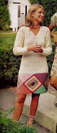 Granny Square Bordered Mini Dress with Long Sleeves and V-Neckline PDF Crochet Pattern