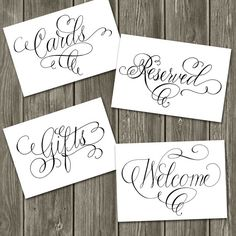My flourished calligraphy has been scanned at a high resolution and is ready to print for your big day! Upon purchase, these signs will be