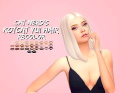 Cat Nerd's @kotcatmeow Yui hair recolor! Recolored with di immortales palette by @inspiredmoodlet - Mesh needed!! HERE - 30 swatches - Custom thumbnail (pink with text) - Thank you to the creators for...
