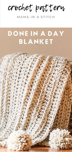 This crochet blanket is fast and easy to make! It can literally be made in just one day, so it's awesome for last minute gift giving. It's also super trendy, with pretty poms and knit look stitching. There's a free pattern that is beginner friendly! via @MamaInAStitch Quick Crochet Blanket, Quick Crochet Patterns, Crochet Throw Pattern, Fast Crochet, Crochet For Beginners Blanket, Basic Crochet Stitches, Crochet Basics, Crochet Afghans, Crochet Blanket Stitches