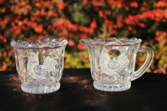 BIRDS 24% Lead CRYSTAL Creamer & Sugar GERMANY The European Collection w/BOX #TheEuropeanCollection