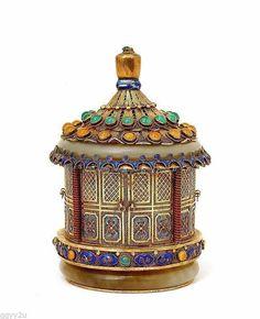 Chinese Filigree Silver Enamel Double Jade Bangle Bracelet Jewel Pagoda Box   eBay