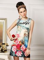 Yeni geliş 2016 İlkbahar yaz lüks marka moda el yapımı elmas boncuk kadın elbise peyzaj çiçek aplikler elbiseler