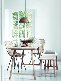 33 Awesome Rattan Chair For Dining Room Design And Decor Ideas - Using rattan dining chairs can help create a casual, exotic, or elegant atmosphere in your dining room. With the numerous chair designs available, it . Bohemian Dining Room, Dining Chair Makeover, Dining Furniture, Dining Table, Rattan Dining Chairs, Dining Room Inspiration, Wooden Dining Tables, Dining Table Chairs, Dining Room Table