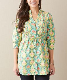 Green Acres Tunic - Women by Matilda Jane Clothing - Wonderful pin tucks with a flattering cut and modest neckline in a bright and feminine print.  - #zulily #zulilyfinds