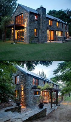Modern farmhouse exterior design reflects the entire style of the space and the tradition as well. Revamping a farmhouse exterior can be very costly most of the time, depending on the chosen design. Modern Farmhouse Exterior, Farmhouse Ideas, Farmhouse Design, Farmhouse Small, Farmhouse Windows, Farmhouse Inn, Farmhouse Table, Stone Houses, Stone Cottages