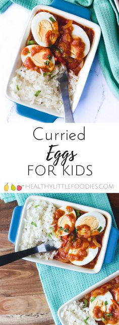 Curried Eggs for kids. Eggs covered in a delicious mild curry sauce. A good of protein. Suitable for vegetarians. via @hlittlefoodies