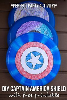DIY Captain America Shield Free Printable -- the perfect activity for an Avengers party or Captain America party! Download a printable version that your kids can color at www.thenerdswife.com, plus even more Captain America Party Ideas!