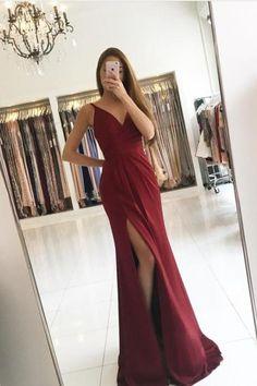 Pretty Burgundy Long Prom Dress Sexy A-line V-neck Split Sleeveless Satin Prom Dress Formal Evening Gowns 2017