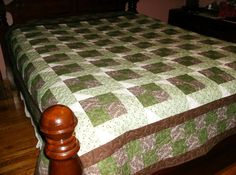 Green and Brown Queen Patchwork Quilt by madeinUSAbyLinda on Etsy  SOLD