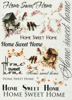 Ricepaper/ Decoupage paper, Scrapbooking Sheets Vintage Home Sweet Home