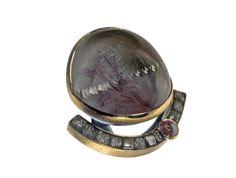Designer Peter Schmid of Atelier Zobel   ||  Materials: 925/0 silver, 22 k gold, rutilated quartz Munsteiner cut, diamond rose 1,46 ct, rough diamonds 11,91 ct  ||  http://www.atelierzobel.com/schmuck/schmuck_list_mz.php?spr=en&kategorie=7&go=50