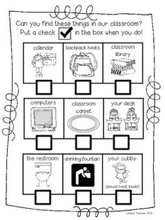 "This is a great beginning of the year or first day of school activity for your kids. Can do with parents. Can put a little Smarties candy in their cubby as their ""treat"" at the end of the hunt. First Week Of School Ideas, First Day Of School Activities, Back To School Night, First Year Teachers, Kindergarten First Day, Beginning Of The School Year, New School Year, Kindergarten Classroom, Kindergarten Open House Ideas"