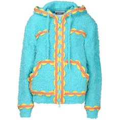 Moschino Cardigan (€270) ❤ liked on Polyvore featuring tops, cardigans, jackets, sky blue, blue long sleeve top, zipper cardigan, sky blue top, blue cardigan and pocket tops