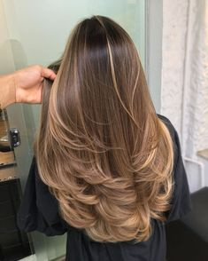 Brown Hair Balayage, Brown Blonde Hair, Hair Color Balayage, Dark Hair, Blonde Color, Balayage Straight Hair, Long Hair Highlights, Blonde Hair On Brunettes, Bayalage Light Brown Hair