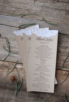 Handmade Wedding Program - Custom Modern Rustic Doily Menus- Save the Date - Spring - Engagement Party - Escort Card