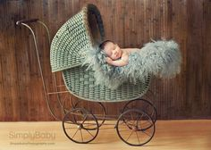 I love antique baby furniture! What a great idea for a baby's picture!
