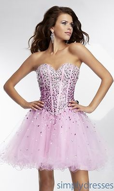 Strapless Short Dress by Mori Lee 9254 at SimplyDresses.com