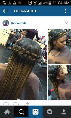 Long bond highlighted hair. Goddess braid halo