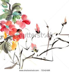 Chinese traditional painting of ink artwork with colorful flowers on white art paper