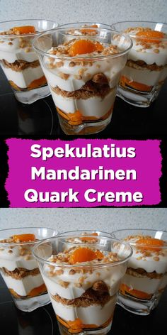 Spekulatius Mandarinen Quark Creme Ingredients 250 g curd 250 ml cream a little milk 2 pack vanilla sugar 50 g sugar or cane sugar 1 small. Tin / s Mandarin (s) 8 Spekulatius Preparation Whip the crea Date Recipes, Summer Recipes, Crockpot Recipes, Healthy Dessert Recipes, Smoothie Recipes, Dessert Halloween, Desserts Sains, Christmas Desserts, Christmas Christmas