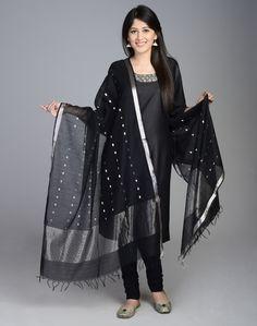 Silk Cotton Chanderi Silver Zari Line Dupatta