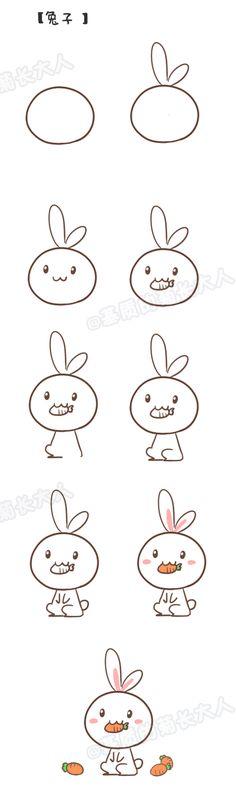 如何画兔纸...来自二宝妈的图片分享-堆糖