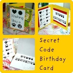 """A tutorial for making a secret code birthday card (the code spells out """"Happy Birthday""""). Everyone is welcome to right-click and save the graphics Steph made… Spy Birthday Parties, Spy Party, Fun Party Games, Diy Birthday, Happy Birthday Cards, Party Time, Party Ideas, Birthday Ideas, Birthday Stuff"""