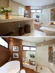 Banheiro moderno com deck
