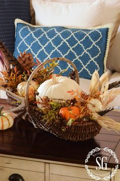 Basket of Pumpkins, Indian Corn and Pheasant Feathers with Filler ~ FALL HOME TOUR-basket-pumpkins-stonegableblog.com