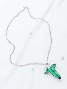 Silver Pendant Necklace With Detachable Leaf -SheIn(Sheinside)