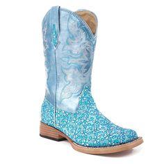 "Roper Kid's Floral Glitter Western Boots. Cute ""Elsa"" boots!! :)"