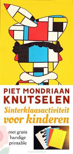 Een vrolijk idee voor Sinterklaas knutselen met peuters, kleuters en kinderen: maak een Piet Mondriaan. Met gratis download voor het Diy And Crafts, Crafts For Kids, Mondrian, Stress, Teaching, Education, Blog, Grid, De Stijl